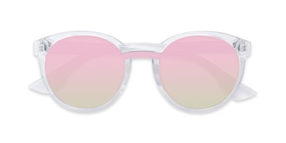 Folded of Zoey #97014 in Clear Frame with Silver/Pink Mirrored Lenses