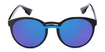 Front of Zoey #97014 in Black Frame with Blue Mirrored Lenses