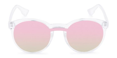 Front of Zoey #97014 in Clear Frame with Silver/Pink Mirrored Lenses