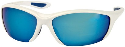 Angle of SW Sport Style #431 in White Frame with Blue Mirrored Lenses, Women's and Men's
