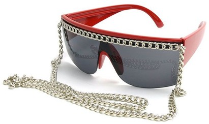 Angle of SW Celebrity Chain Style #81 in Red and Silver, Women's and Men's