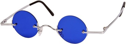 Angle of SW Round Style #9714 in Silver Frame with Blue Lenses, Women's and Men's