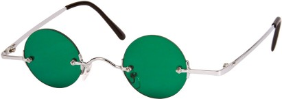 Angle of SW Round Style #9714 in Silver Frame with Green Lenses, Women's and Men's