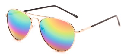 Angle of Neptune #10166 in Gold Frame with Rainbow Lenses, Women's and Men's Aviator Sunglasses