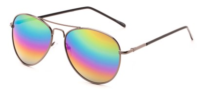 Angle of Neptune #10166 in Grey Frame with Rainbow Lenses, Women's and Men's Aviator Sunglasses
