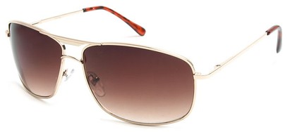Angle of Delta #100 in Gold Frame with Amber Lenses, Women's and Men's Aviator Sunglasses