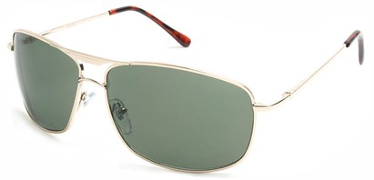 Angle of Delta #100 in Gold Frame with Green Lenses, Women's and Men's Aviator Sunglasses