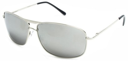 Angle of Delta #100 in Silver Frame with Mirrored Lenses, Women's and Men's Aviator Sunglasses