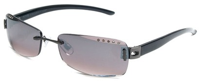 Angle of SW Rhinestone Style #8270 in Black Frame with Smoke Lenses, Women's and Men's