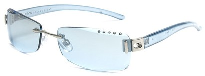 Angle of SW Rhinestone Style #8270 in Blue Frame with Blue Lenses, Women's and Men's