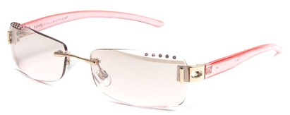 Angle of SW Rhinestone Style #8270 in Pink Frame with Pink Lenses, Women's and Men's
