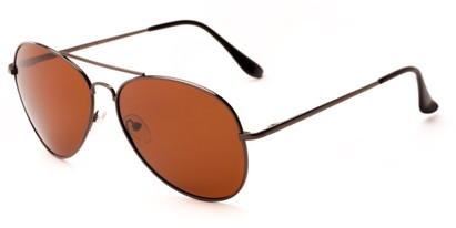 Angle of Frontier #1119 in Glossy Grey Frame with Brown Lenses, Women's and Men's Aviator Sunglasses