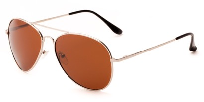 Angle of Frontier #1119 in Matte Silver Frame with Brown Lenses, Women's and Men's Aviator Sunglasses