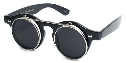 Angle of SW Flip-up Style #1142 in Black Frame with Silver, Women's and Men's