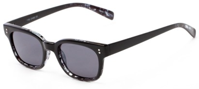 Angle of Gibson #1156 in Black/Grey Frame with Grey Lenses, Women's Retro Square Sunglasses