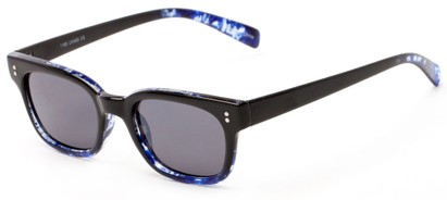 Angle of Gibson #1156 in Black/Blue Frame with Grey Lenses, Women's Retro Square Sunglasses