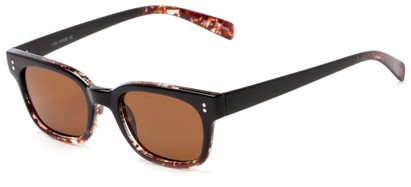 Angle of Gibson #1156 in Black/Brown Frame with Amber Lenses, Women's Retro Square Sunglasses