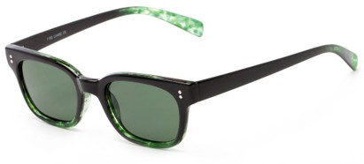 Angle of Gibson #1156 in Black/Green Frame with Green Lenses, Women's Retro Square Sunglasses