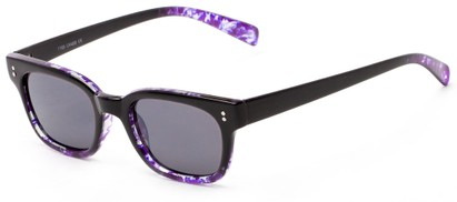 Angle of Gibson #1156 in Black/Purple Frame with Grey Lenses, Women's Retro Square Sunglasses