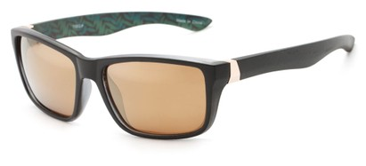 Angle of Portree #1888 in Matte Black Frame with Amber Lenses, Women's and Men's Retro Square Sunglasses
