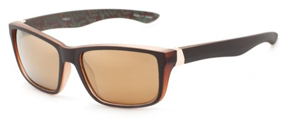 Angle of Portree #1888 in Matte Brown Frame with Amber Lenses, Women's and Men's Retro Square Sunglasses