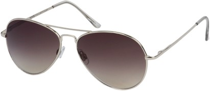 Angle of Jetsetter #1192 in Silver Frame with Gold/Grey Lenses, Women's and Men's Aviator Sunglasses