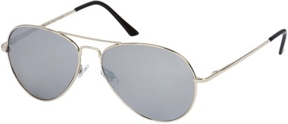 Angle of Jetsetter #1192 in Silver Frame with Mirrored Lenses, Women's and Men's Aviator Sunglasses