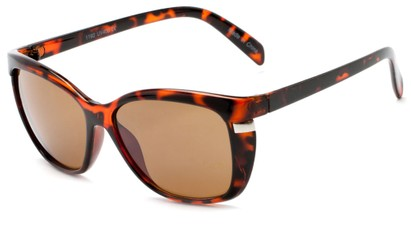 Angle of Queens #1919 in Tortoise Frame with Amber Lenses, Women's Cat Eye Sunglasses