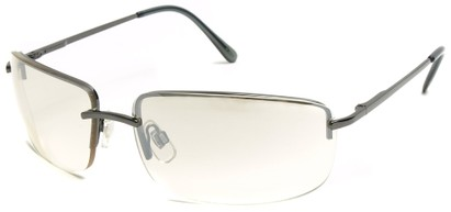 Angle of Flier #1196 in Grey Frame with Clear Lenses, Women's and Men's Square Sunglasses