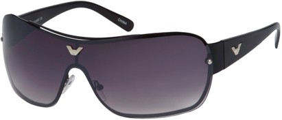 Angle of SW Shield Style #1242 in Black Frame, Women's and Men's