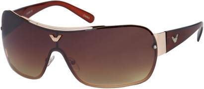 Angle of SW Shield Style #1242 in Gold and Brown Frame, Women's and Men's