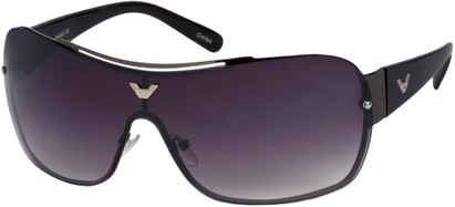 Angle of SW Shield Style #1242 in Grey and Black Frame, Women's and Men's