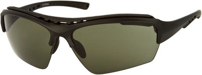 Angle of Mustang #7502 in Matte Black Frame with Green Lenses, Women's and Men's Sport & Wrap-Around Sunglasses