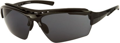 Angle of Mustang #7502 in Glossy Black Frame with Blue Lenses, Women's and Men's Sport & Wrap-Around Sunglasses