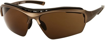 Angle of Mustang #7502 in Bronze Brown Frame with Amber Lenses, Women's and Men's Sport & Wrap-Around Sunglasses