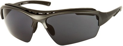 Angle of Mustang #7502 in Matte Grey Frame with Blue Lenses, Women's and Men's Sport & Wrap-Around Sunglasses