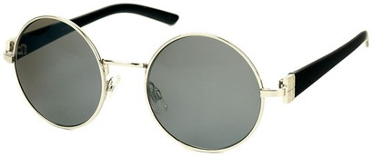 Angle of SW Round Style #1922 in Silver and Black Frame, Women's and Men's