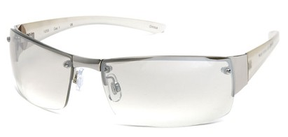 Angle of Bombay #9775 in Silver Frame with Clear Lenses, Women's and Men's Square Sunglasses