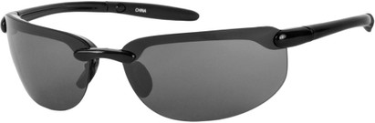 Angle of Tahoe #9228 in Black Frame with Grey Lenses, Women's and Men's Sport & Wrap-Around Sunglasses