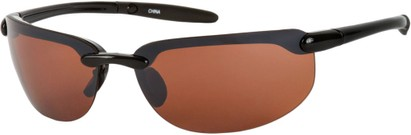 Angle of Tahoe #9228 in Black Frame with Copper Lenses, Women's and Men's Sport & Wrap-Around Sunglasses