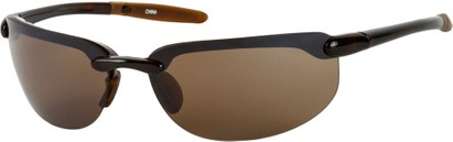 Angle of Tahoe #9228 in Brown Frame with Amber Lenses, Women's and Men's Sport & Wrap-Around Sunglasses
