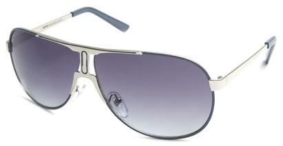 Angle of SW Celebrity Aviator Style #8420 in Silver and Grey Frame with Smoke Lenses, Women's and Men's