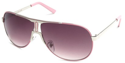 Angle of SW Celebrity Aviator Style #8420 in Silver and Pink Frame with Rose Lenses, Women's and Men's