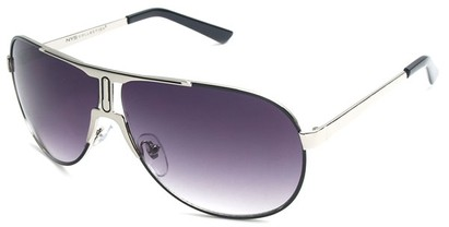 Angle of SW Celebrity Aviator Style #8420 in Silver and Black Frame with Smoke Lenses, Women's and Men's