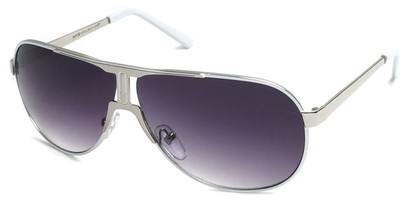 Angle of SW Celebrity Aviator Style #8420 in Silver and White Frame with Smoke Lenses, Women's and Men's
