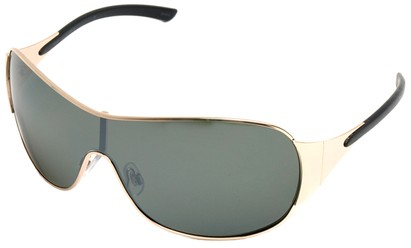 Angle of SW Shield Style #1344 in Gold and Black Frame, Women's and Men's