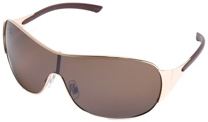 Angle of SW Shield Style #1344 in Gold and Brown Frame, Women's and Men's