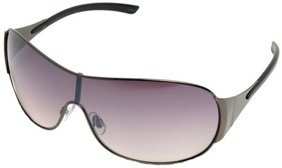 Angle of SW Shield Style #1344 in Grey Frame with Rose Lenses, Women's and Men's