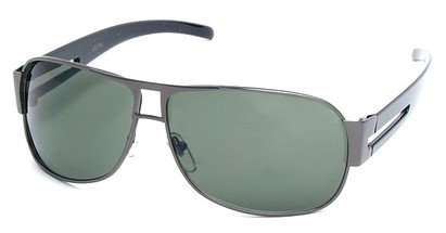 Angle of SW Aviator Style #8835 in Grey Frame with Green Lenses, Women's and Men's