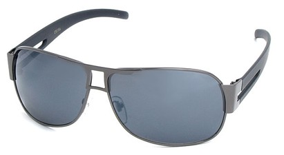 Angle of SW Aviator Style #8835 in Grey Frame with Smoke Lenses, Women's and Men's